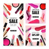 Banners de venda realista de maquiagem de lábio