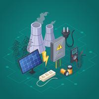 Composição isométrica de eletricidade vetor