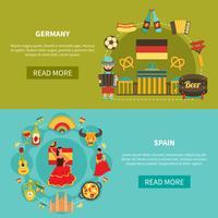 Alemanha Espanha Banners Set vetor