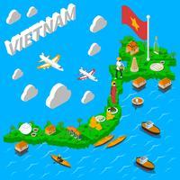 Cartaz isométrico turístico do mapa de Vietnam