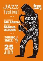 Cartaz da silhueta da rotulação do festival de música de jazz vetor