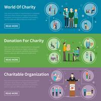 Banners de doação de caridade vetor