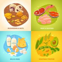 Protein Food Concept 4 Ícones quadrados vetor