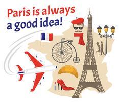 Conjunto de ícones planos decorativos de Paris vetor