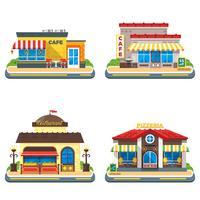 Conjunto de ícones plana Cafe 2 x 2 vetor