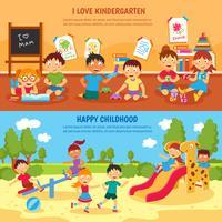 Conjunto de banner de jardim de infância vetor
