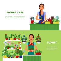 Casa de florista plantas plana Banners Set