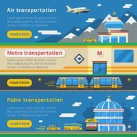 Banners horizontais de transporte de passageiros vetor