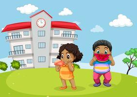 Crianças, comer, exterior, escola vetor