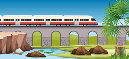 Trem moderno para o campo vetor
