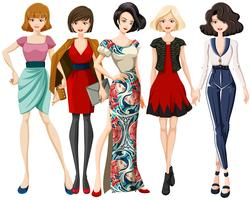 Conjunto de personagem de modelo de moda vetor
