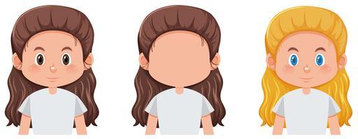 Conjunto de rostos de menina vetor