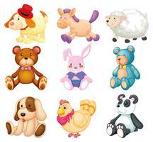 Conjunto de brinquedos dos desenhos animados vetor