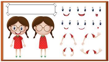 Menina com diferentes expressões faciais vetor