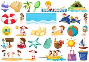 Conjunto de elemento de praia de verão vetor