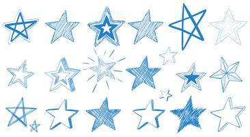 Projetos diferentes de estrelas azuis vetor