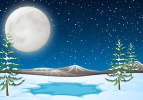 Cena de neve com lagoa