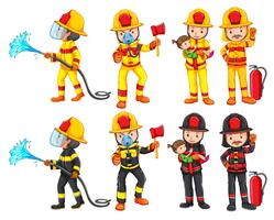 Um conjunto de caracteres de bombeiro vetor