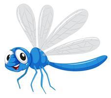 Um, libélula azul, personagem vetor