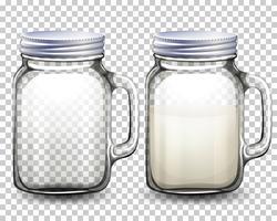 Conjunto de frascos de vidro vetor