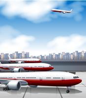 Aeroporto de construção com estacionamento de aviões vetor