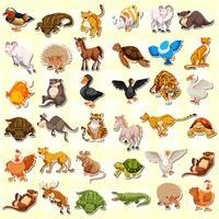 Conjunto de autocolante animal vetor