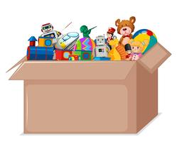 Brinquedos em caixa de papelão vetor