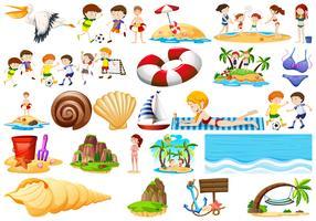 Elementos de areia e praia vetor