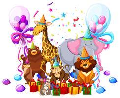Animal selvagem comemorar aniversário vetor