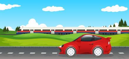 Transporte na paisagem rural vetor