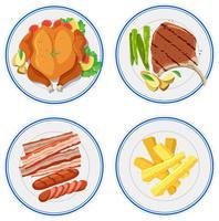 Conjunto de comida no prato vetor