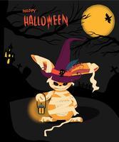 Cartão de dia das bruxas com um coelho de monstro segurando um lampton
