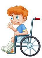 Um, menino, ligado, cadeira rodas vetor