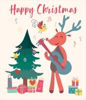 Rena de cartão de Natal toca guitarra vetor