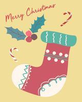 cartão de natal cute fastive vintage sock flat vector
