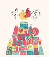 Doodle bonito pássaro na montanha de caixas presentes, idéia para cartão vetor