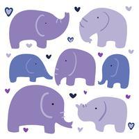 projeto de coleção de vetores de elefante