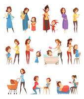 Conjunto de ícones retrô dos desenhos animados de maternidade