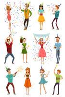Conjunto de pessoas engraçadas de celebração de festa de aniversário
