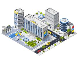 Composição isométrica de edifícios de Hotel de luxo