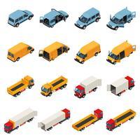 Coleção de veículos de transporte de carga
