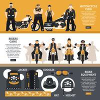 Conjunto de Banners de motociclistas vetor