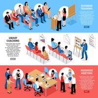 Banners horizontais isométricos de reunião de negócios