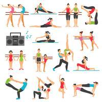 Conjunto de ícones decorativos de treinamento de dança