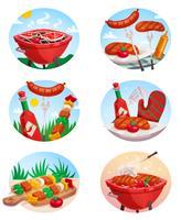 Conjunto de Stickies para churrasco Grill vetor