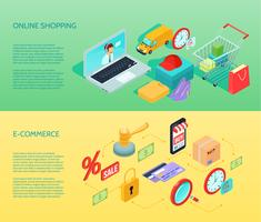 Compras Ecommerce Banner Horizontal Isometric
