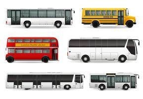 Conjunto realista de ônibus vetor