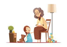 Avó com desenhos animados retrô de criança vetor