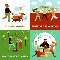 Conceito de Design de voluntários feliz