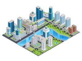 Paisagem isométrica urbana moderna vetor